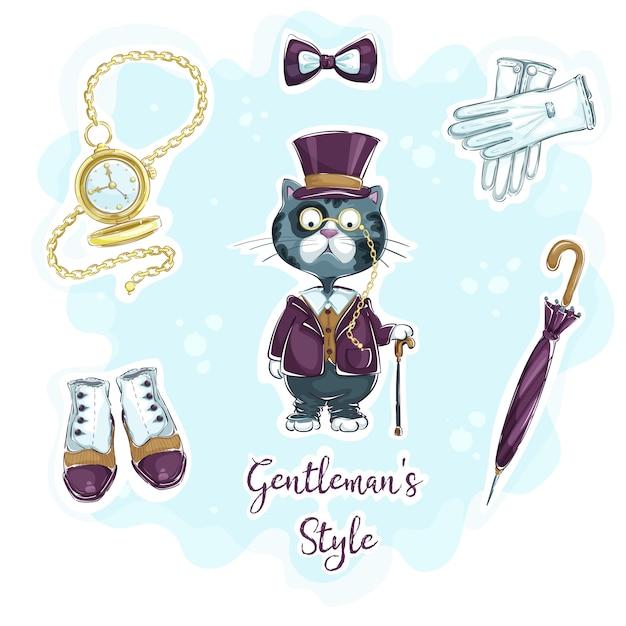Conjunto de adesivos de desenho de mão engraçada para o estilo retrô cavalheiro. Vetor Premium