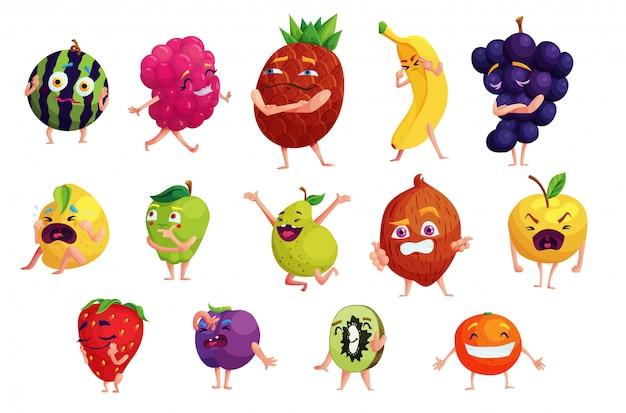Conjunto De Adesivos De Desenhos Animados De Frutas Kawaii