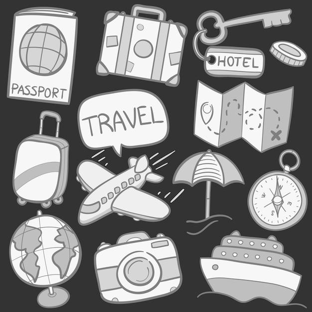 Conjunto de adesivos de doodle de viagem de sketck cinza Vetor Premium