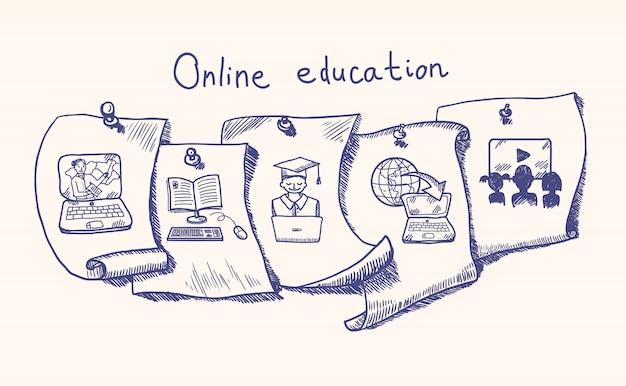 Conjunto de adesivos de educação on-line Vetor grátis