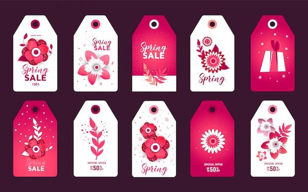 Conjunto de adesivos de etiqueta de corte de papel de venda de primavera. Vetor Premium
