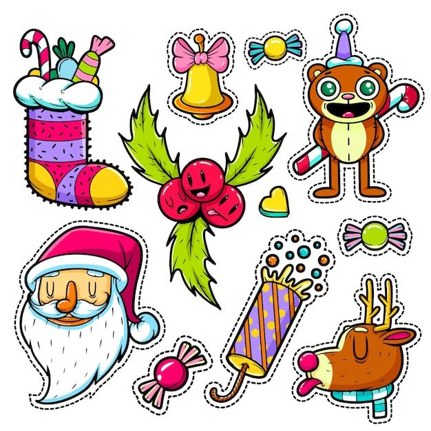 Conjunto de adesivos de feliz natal e feliz ano novo Vetor Premium