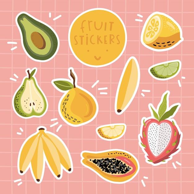 Conjunto de adesivos de frutas. Vetor Premium