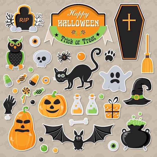 Conjunto de adesivos de halloween Vetor Premium