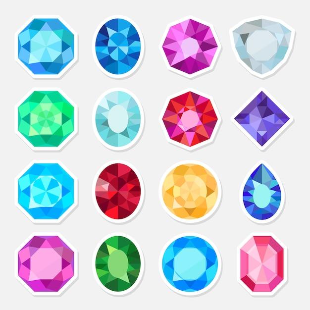 Conjunto de adesivos de joias preciosas ou preciosas Vetor Premium