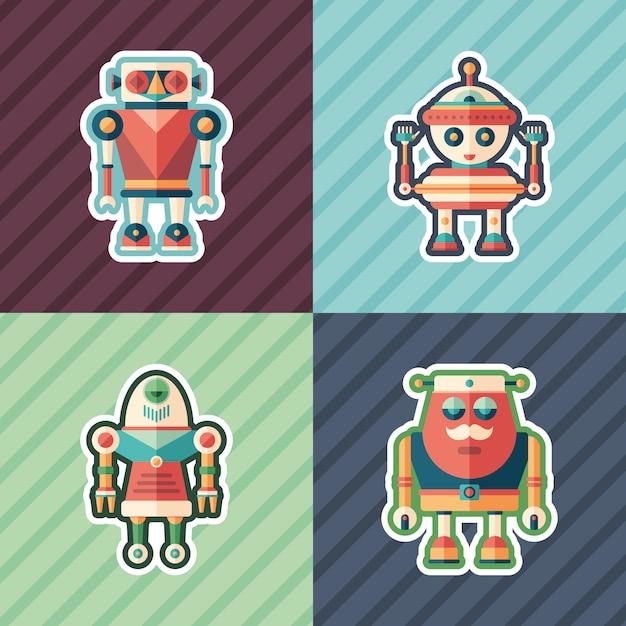 Conjunto de adesivos de robôs engraçados. Vetor Premium