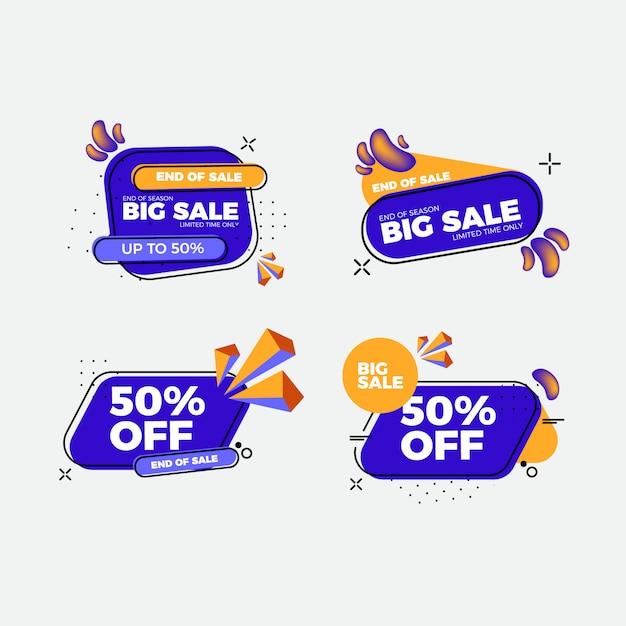 Conjunto de adesivos de venda design plano Vetor Premium