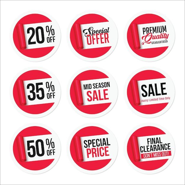 Conjunto de adesivos de venda promocional Vetor Premium
