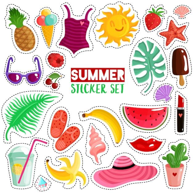 Conjunto de adesivos de verão Vetor grátis
