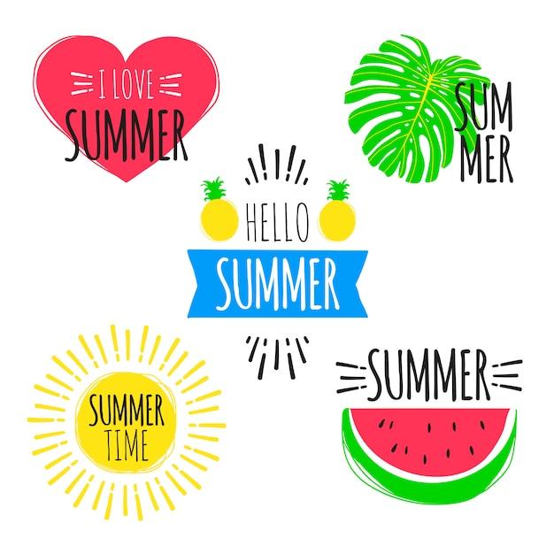 Conjunto de adesivos de verão Vetor Premium