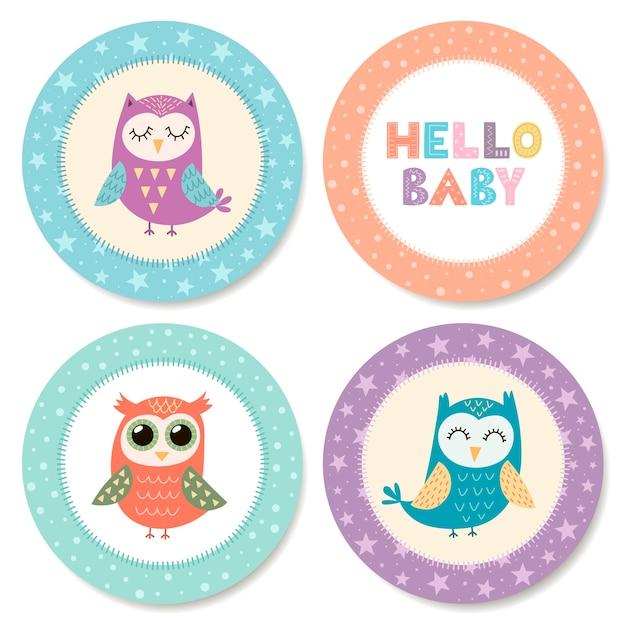 Conjunto de adesivos fofos com corujas para chá de bebê. ilustração Vetor Premium