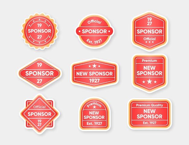 Conjunto de adesivos modernos de patrocinador Vetor Premium