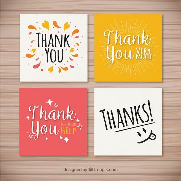 Conjunto de agradáveis cartões de agradecimento Vetor grátis