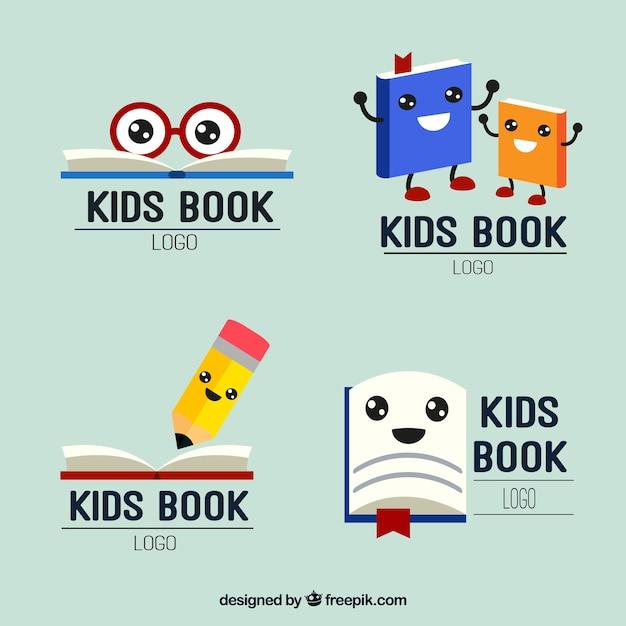 Conjunto de agradáveis de leitura dos miúdos logos Vetor grátis