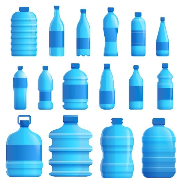 Conjunto de água mineral, estilo cartoon Vetor Premium