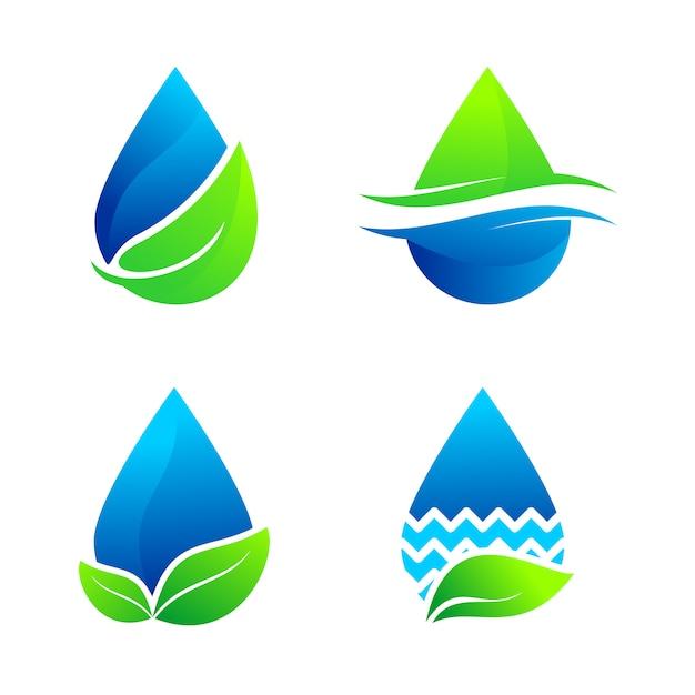 Conjunto de água natureza logo vector Vetor Premium