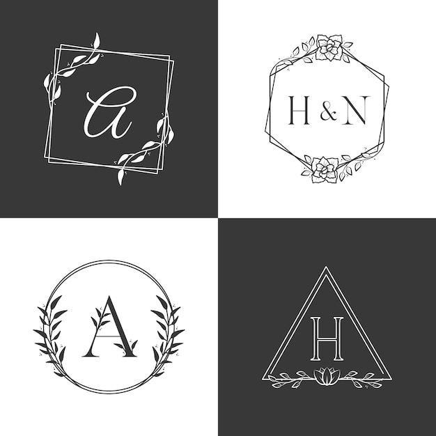 Conjunto de alfabeto de logotipo de monograma de luxo Vetor Premium