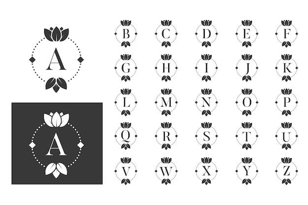 Conjunto de alfabeto de lótus de monograma de luxo Vetor Premium