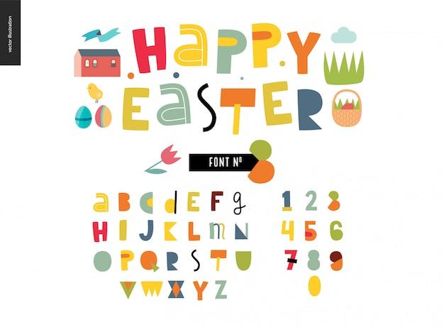 Conjunto de alfabeto de páscoa plana de crianças Vetor Premium