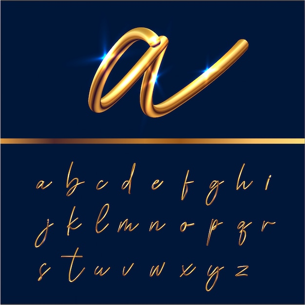 Conjunto de alfabeto de texto dourado Vetor Premium