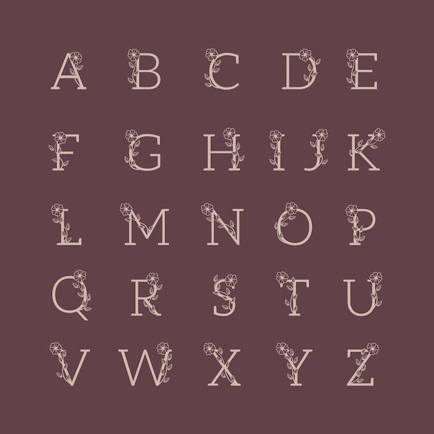 Conjunto de alfabeto decorativo de luxo para casamento Vetor Premium