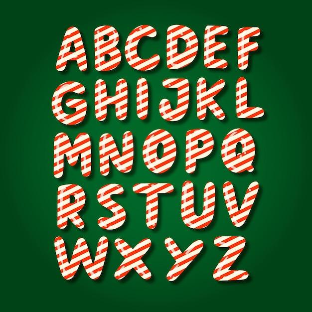 Conjunto de alfabeto natalino de cana doce Vetor grátis