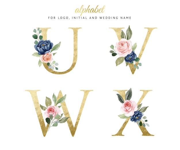 Conjunto de alfabeto ouro floral aquarela de u, v, w, x com flores da marinha e pêssego. para logotipo, cartões, branding, etc. Vetor Premium