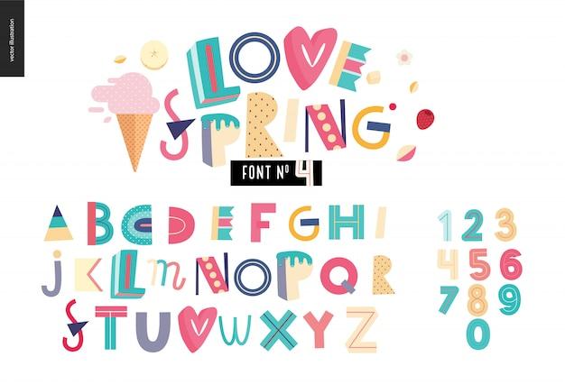 Conjunto de alfabeto plana de crianças Vetor Premium