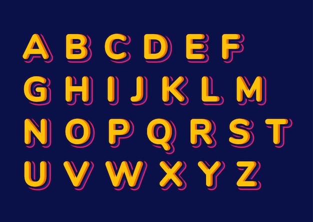 Conjunto de alfabetos de crianças coloridas Vetor Premium