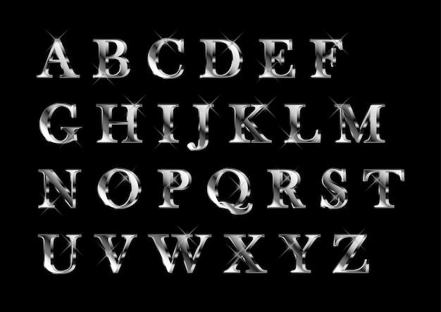 Conjunto de alfabetos platnium prata brilhante elegante Vetor Premium
