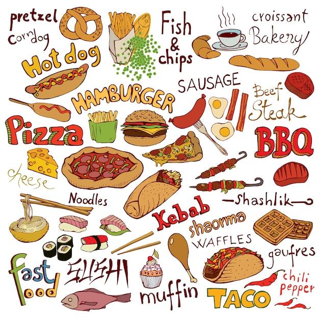 Conjunto de alimentos e inscrições doodle Vetor Premium