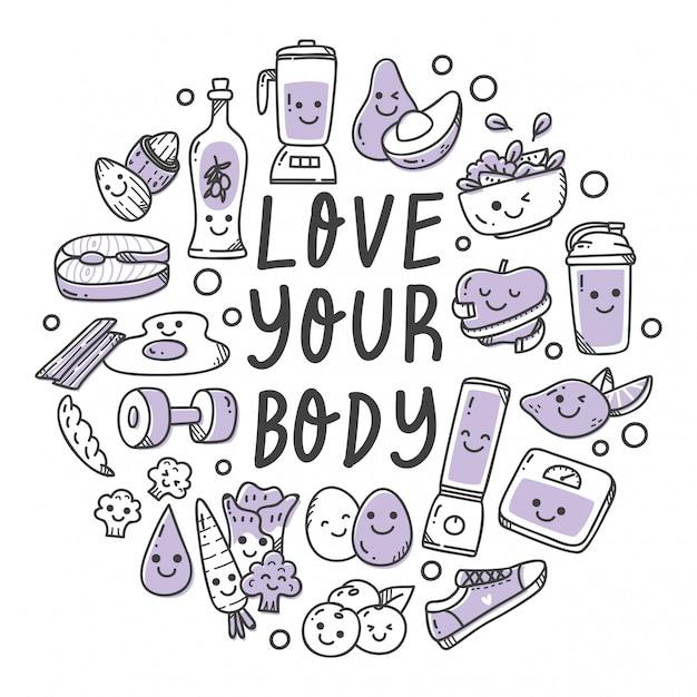 Conjunto de alimentos saudáveis na ilustração de estilo doodle kawaii Vetor Premium