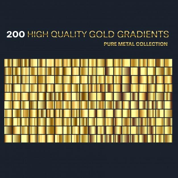 Conjunto de amostras de gradientes dourados premium Vetor Premium