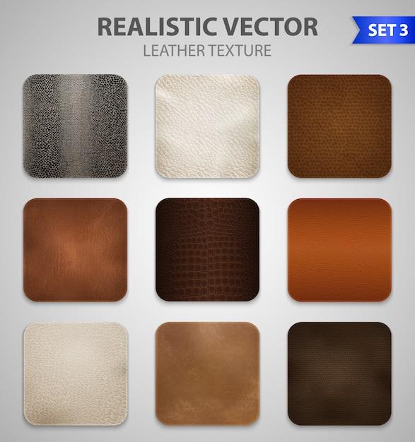 Conjunto de amostras de remendos de couro realista Vetor grátis