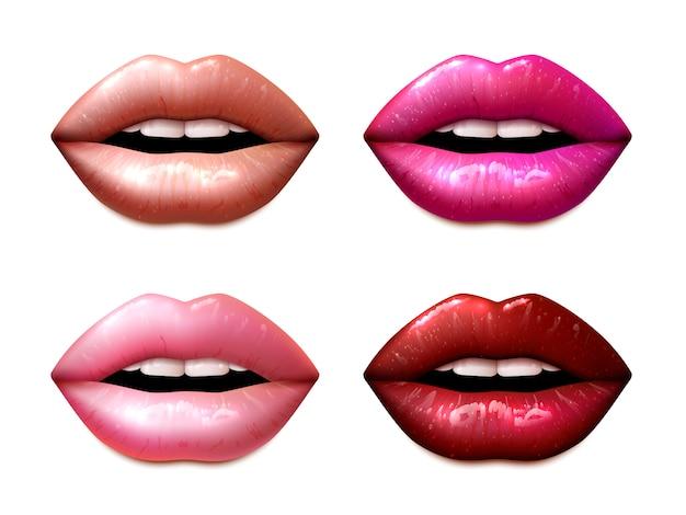 Conjunto de amostras lipstic Vetor grátis
