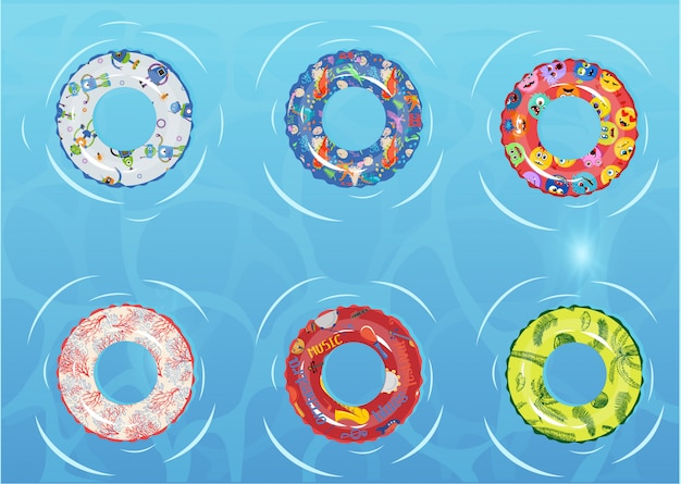 Conjunto de anéis de natação. brinquedo de borracha incapaz. Vetor Premium