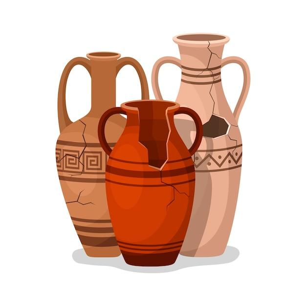 Conjunto de ânfora antiga. frascos de vasos de barro antigos quebrados. artefatos arqueológicos de jarro de cerâmica. Vetor Premium