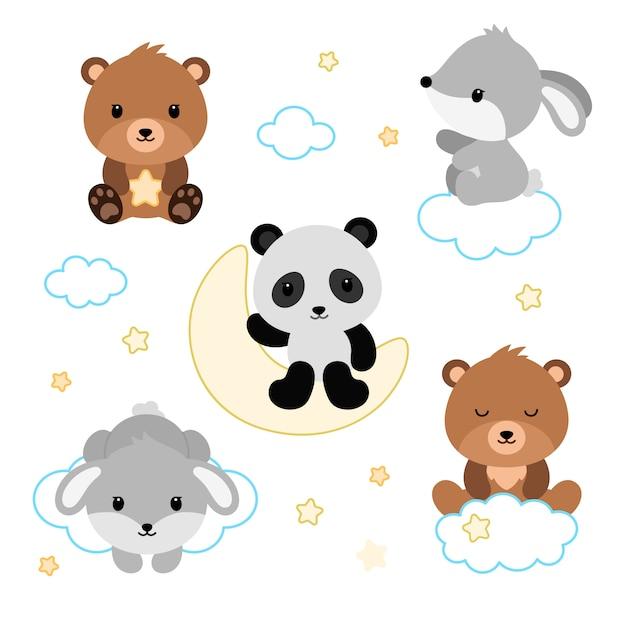 Conjunto de animais adoráveis dormindo plana. Vetor Premium