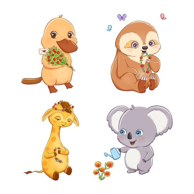 Conjunto de animais adoráveis dos desenhos animados com flores Vetor Premium
