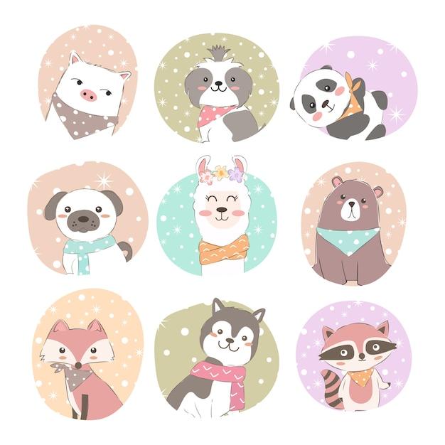 Conjunto de animais adoráveis Vetor Premium