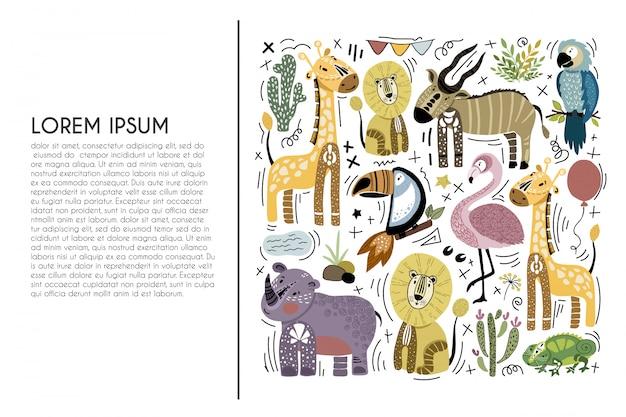 Conjunto de animais africanos dos desenhos animados Vetor Premium