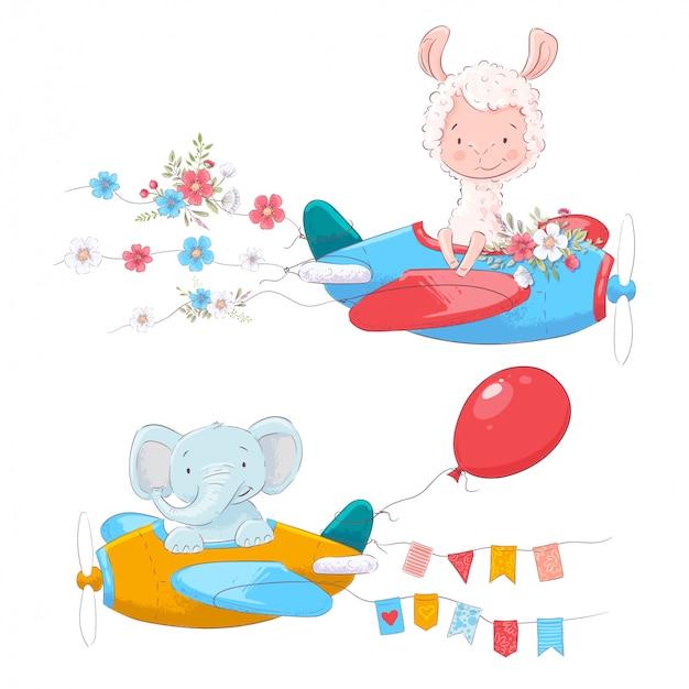 Conjunto de animais bonito dos desenhos animados lama e um elefante em um avião com flores e bandeiras Vetor Premium