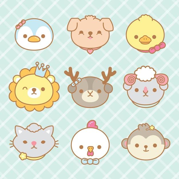 Conjunto de animais bonitos dos desenhos animados. Vetor Premium
