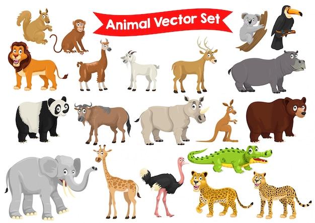 Conjunto de animais cartum ilustração gráfica Vetor Premium
