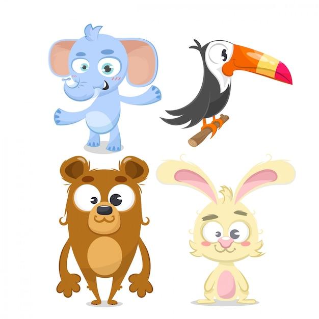 Conjunto de animais, coelho, urso, elefante e tucan. Vetor Premium