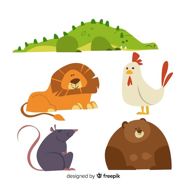 Conjunto De Animais Coloridos Dos Desenhos Animados Vetor Gratis