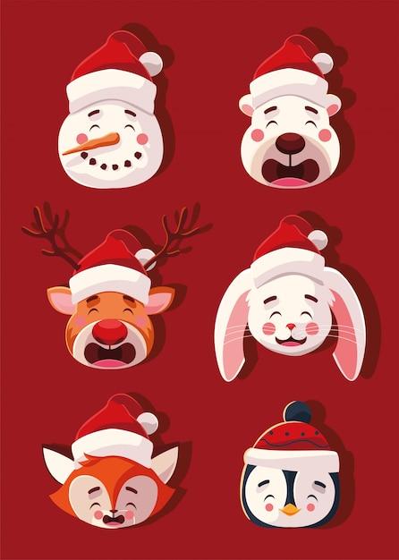 Conjunto de animais com chapéus de natal Vetor Premium
