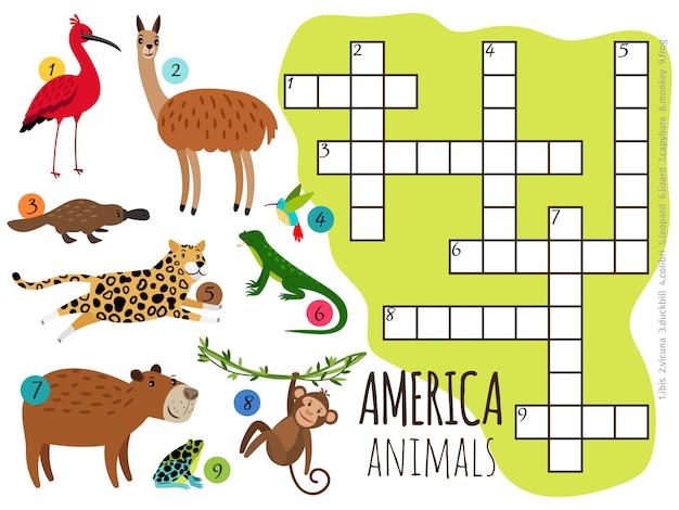 Conjunto de animais da américa em palavras cruzadas de crianças Vetor Premium