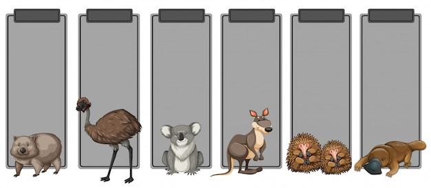 Conjunto de animais da austrália na fronteira cinza Vetor Premium