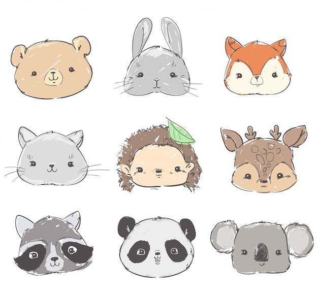Conjunto de animais da floresta, coelho bonito desenhado à mão, panda, raposa, urso, guaxinim, ouriço e veado Vetor Premium